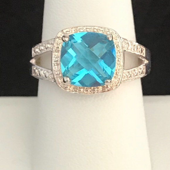 Jewelry - Blue Topaz & Sterling Silver Cocktail Ring